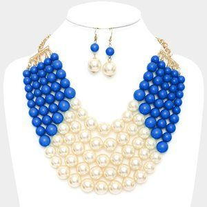 Blue & Cream Chunky Multistrand Pearl Bib Necklace